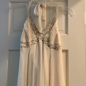 BCBG Max Azria Cream Silk Halter Cocktail Dress